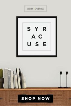 Culver and Cambridge's Minimalist Syracuse Print. Bold, black typography with your favorite place, your hometown, or where you left your heart. Our minimalist prints make great gallery walls and college dorm décor. Shop our Amazon Store for more cities, states, and countries Syracuse Poster, Syracuse Wall Art, Minimalist City Wall Art, City Poster, Travel Art, Black and White Modern Art || culverandcambridge.com || Syracuse New York Gifts || #poster #artprint #walldecor Minimalist Dorm, Minimalist Dining Room, Dining Room Wall Decor, Office Wall Decor, Living Room Prints, Dorm Walls, College Dorm Decorations, Office Prints, Black And White Prints