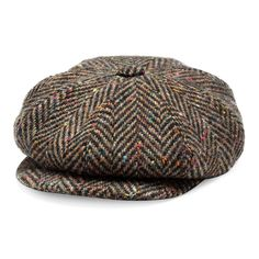 c9b26748ebd Mens Flat Cap Tweed Grey 8 Panel Newsboy Baker boy Hat Gatsby Peaky ...