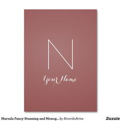 Marsala Fancy Stunning and Monogrammed Large Business Cards (Pack Of 100)