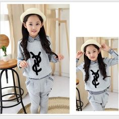Hot Sale Childrens 2015 Autumn New Collection Sets Girls Kids Fashion Sweet Plaid Stitching Casual Movement Sets Long Sleeve Pants Sets From Elandfashion, $83.42 | Dhgate.Com
