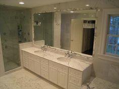 marble bathrooms | bathrooms - carrera marble, modern crystal sconce, carrera marble ...