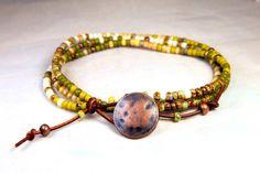 Seed Bead Bracelet Minimalist Beaded Leather Wrap by Aerieanna