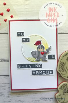 Stampin' Up! Magical Day Stamp Set, Stampin' Up! Labeler Alphabet Stamp Set, Stampin' Up! Occasions 2018, Masculine Valentines Day Card, Ink Paper Girl with Katrina Duffell Independent Stampin' Up! Demonstrator Sydney Australia, Knight in Armour card, #SDBH Hello & welcome to the January, Stampin' Dreams Blog Hop. For those of you, who  don't know me, my name is Katrina Duffell, & I'm an Independent Stampin' Up! demonst…