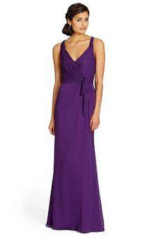 V Neck Chiffon Floor Length Sheath/ Column Natural Waist Bridesmaid Gowns - 1300104960B - US$99.99 - BellasDress