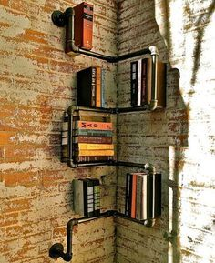 Yet another brilliant idea to store books… Iron Pipe Shelving Systems for Urban Loft Walls & Corners Pipe Bookshelf, Corner Bookshelves, Pipe Shelves, Book Shelves, Book Storage, Industrial Bookshelf, Storage Ideas, Bookshelf Design, Bookcases