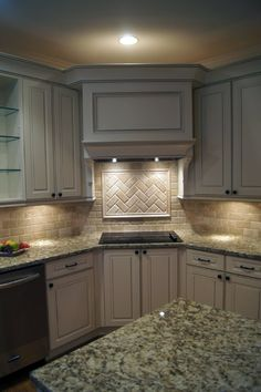 Creative Cabinets & Faux Finishes, LLC (CCFF)– Kitchen Cabinet Refinishing Picture Gallery Corner stove, vent, backsplash