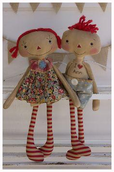 Raggedy Ann and Raggedy Andy-ish dolls