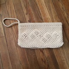 "Hippy boho macrame clutch wristlet purse. Macrame clutch handbag. Fits a phone, small camera, compact, lipgloss and backstage pass.   11 1/2"" x 1"" x 6 1/2""  Excellent condition. No rips, stains or holes. Vintage Bags Clutches & Wristlets"