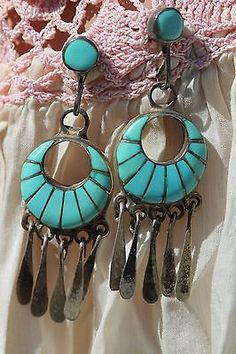 Vintage Signed Zuni Channel Inlay Turquoise Pierced Hoop Earrings Lolita Malamic
