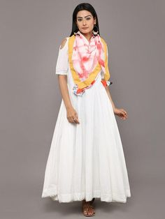 White Cotton Cold Shoulder Long Dress with Shibori Dyed Scarf - Set of 2 Stylish Kurtis Design, Simple Kurta Designs, Casual Frocks, White Kurta, Frock For Women, Contemporary Dresses, Full Length Gowns, Elegant Outfit, Silk Chiffon