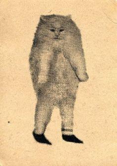 this is incredibly creepy. Illustrations, Illustration Art, Arte Obscura, Art Brut, Weird Art, Medieval Art, Surreal Art, Crazy Cats, Cat Art