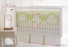 Serena and Lily, pink and green damask crib