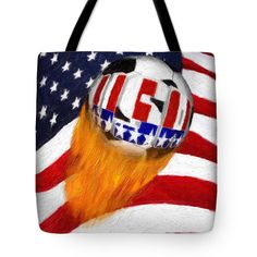 "Flaming Usa Soccer Ball Tote Bag (18"" x 18"") by #Gravityx9 Designs.  The tote bag is machine washable, available in three different sizes, and includes a black strap for easy carrying on your shoulder.  All totes are available for worldwide shipping and include a money-back guarantee."
