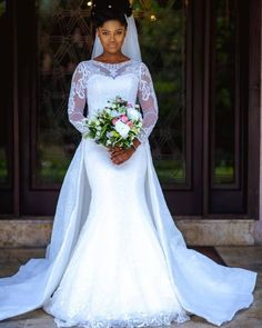 2019 White Ivory Mermaid Wedding Dresses Long Sleeves Lace Applique Bridal Gowns for sale online Cream Wedding Dresses, Sheer Wedding Dress, Classic Wedding Dress, Lace Mermaid Wedding Dress, Wedding Dresses For Sale, Bridal Lace, Designer Wedding Dresses, Bridal Dresses, Wedding Gowns