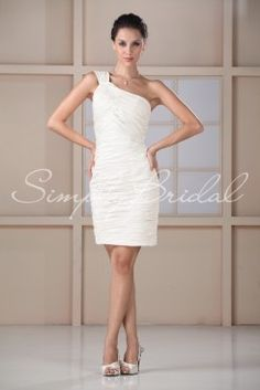 Wedding Dress by SimplyBridal. This sexy sheath dress is for the bridesmaid who isn't afraid to show off her figure. Luxurious taffeta is ruched perfectly throughout the entire dress with a one shoulder accent. This edgy and short style is perfect for summer and spring on the beach or . USD $99.99