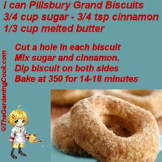 What a quick breakfast idea! Easy Biscuit Doughnuts - simple and delicious! Biscuit Donuts, Biscuit Mix, Baked Donuts, Biscuit Recipe, Doughnuts, Just Desserts, Delicious Desserts, Dessert Recipes, Yummy Food