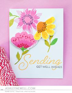 Get Well Wishes Card by Ashley Cannon Newell for Papertrey Ink (February 2016)