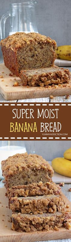 super moist, fluffy, soft and flavorful banana bread with crunchy streusel topping is perfect for breakfast or snacking.This super moist, fluffy, soft and flavorful banana bread with crunchy streusel topping is perfect for breakfast or snacking. Delicious Desserts, Dessert Recipes, Yummy Food, Brunch, Super Moist Banana Bread, Banana Bread With Buttermilk, Banana Bread Without Butter, Brown Sugar Banana Bread, Banana Bread With Applesauce