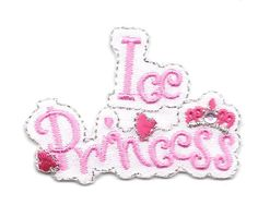 """Ice Skating --  Pink """"ICE PRINCESS"""" Iron On Applique Patch #Unbranded"""