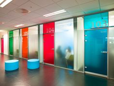 Image 11 of 15 from gallery of Nordahl Grieg High School / LINK arkitektur. Photograph by LINK arkitektur Office Graphics, Window Graphics, Office Signage, Office Branding, School Signage, Education Architecture, School Architecture, Office Interior Design, Office Interiors