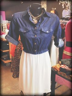 Just unpacked this adorable new denim and white chiffon dress!! Vogue Boutique. Freeport,Il where style meets savings!