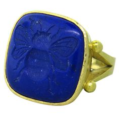 View this item and discover similar for sale at - Large gold ring with lapis bee intaglio by Elizabeth Locke. Ring size 6 ring top is x Marked hallmark. Jewelry Rings, Jewelery, Fine Jewelry, Gold Rings, Gemstone Rings, Ancient Jewelry, Lapis Lazuli, Blue Gold, 18k Gold