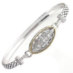 Andrea Candela 18kt and Sterling Silver Diamond Bangle Andalucia Collection - icejewelry.com