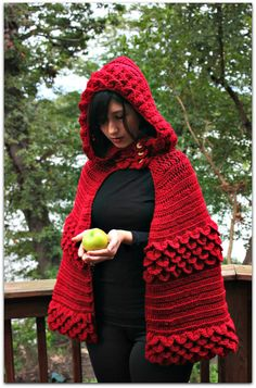 Crocodile Stitch Hooded Cape - Crochet Pattern PDF - Permission to Sell Finished Items.