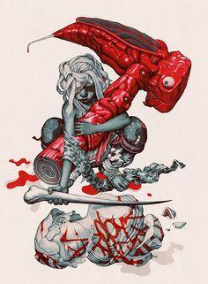 "The Endz (Mangchi Hammer). Ink and Digital, 9 x 12"", 2014."