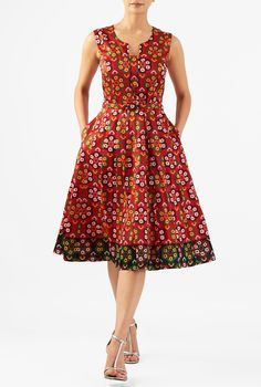 A shapely tank bodice with a front vent and modesty inset tops our flattering dress crafted from graphic floral print polydupioni. Flattering Dresses, Modest Dresses, Pretty Dresses, Casual Dresses, Bridesmaid Dresses, Wedding Dresses, African Fashion Dresses, African Dress, Fashion Outfits