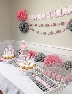 Girl Elephant Baby Shower Party Ideas Photo 1 of Grey Baby Shower, Baby Girl Shower Themes, Girl Baby Shower Decorations, Baby Shower Centerpieces, Baby Girl Elephant, Elephant Baby Showers, Elephant Party, Pink Elephant, Decoracion Baby Shower Niña