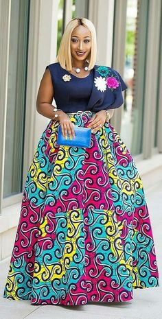 Long skirt with African print, African fashion, Ankara, kitenge, African woman dress . African Inspired Fashion, Latest African Fashion Dresses, African Dresses For Women, African Print Dresses, African Print Fashion, African Attire, African Prints, African Women, Ankara Fashion