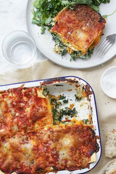 Spinach and Ricotta Lasagne The vegetarian lasagne of your dreams. The vegetarian lasagne of your dreams. Vegetarian Lasagne, Vegetarian Recipes, Healthy Recipes, Healthy Lasagna, Vegetarian Cooking, Pasta Recipes, Dinner Recipes, Cooking Recipes, Shrimp Recipes