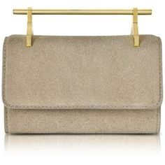M2Malletier Handbags Mini Fabricca Cosmic Grey Glitter Leather Clutch... (83,770 INR) ❤ liked on Polyvore featuring bags, handbags, clutches, leather purses, man bag, gray leather handbags, leather handbags and chain strap purse