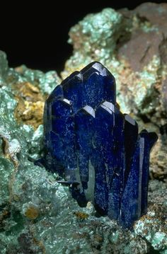 Azurite crystals with Malachite from the National Mineral Collection.