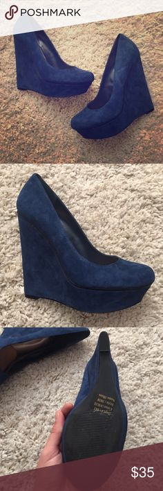 Blue suede wedges Fabulous blue wedges. Cushions on the inside for added comfort. Bakers Shoes Wedges