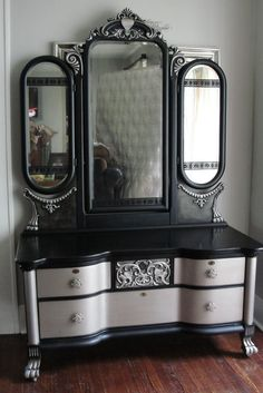Victorian Gothic Antique Vanity with Tri-Fold Mirror; Black Aged Warm Silver in Antiques, Furniture, Dressers Vanities | eBay
