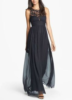 Be a prom goddess in this embellished lace and silk chiffon gown.