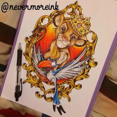 Disney The Lion King tattoo 💕 Disney Artwork, Disney Drawings, Art Drawings, Golden Snitch Tattoo, Disney Frames, Disney Sleeve, Lion King Art, Pinturas Disney, Geniale Tattoos