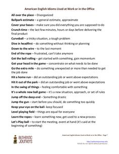 American  English  Idioms  Used  at  Work  or  in  the  Office                      ...