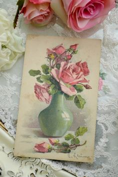 vintage card or bookmark with roses