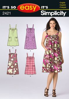misses' it's so easy dress in two lengths with design detail variation.