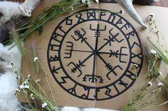 Handmade Cards With Vegviser and Elder Rune Rows Design Set of 4 — NorneWoven Celtic Animals, Altar Cloth, Vegvisir, Asatru, Kraft Paper, Celtic Knot, Runes, Recycling, Greeting Cards