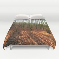 Autumn sun and shadows Duvet Cover The sun shines through the trees of a broadleaf forest. Reload of my last uploaded work  sunrays, sunbeams, landscape, nature, orange, fall, autumnally