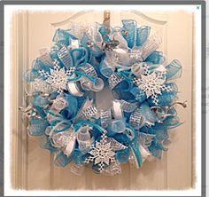 winter snowflake deco mesh wreath