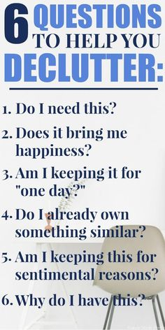 Getting rid of the things you've collected during your life can be an emotional and physically draining process. Make the process easier by asking yourself these 6 Simple Questions to Help You Declutter. How to declutter, questions to ask to declutter, cl House Cleaning Tips, Spring Cleaning, Cleaning Hacks, Clutter Control, Getting Rid Of Clutter, Declutter Your Life, Declutter House, D House, Simple Life Hacks