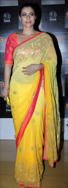 USD 44.35 Kajol Yellow Sheded Party Wear Saree  34784