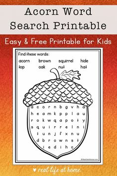 This easy acorn word search printable is a wonderful fall activity for elementary-aged kids. It features 8 words about acorns plus a coloring area. #FallWordSearch #Acorns
