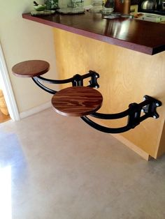 The Swing out Seat is also known as, or has been called: Suspended Swing Out Kitchen Stool, Space Saving Stool, Wrought Iron Stool, Swing Stools, Kitchen Island Stool, Floating Seat, Floating Stool, Vintage Island Stool attached to Island, Backless Island Stool. We Simply Refer to it as