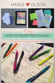 Ace your next exam with these helpful tips! Here is a step-by-step guide showing you how to study for an exam!! Click to read more, or pin to read later :) Find my blog at www.hayleolson.com